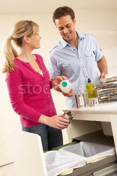 Para odpadów domu człowiek szczęśliwy portret Zdjęcia stock © monkey_business