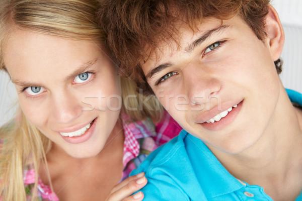 Tizenéves fiú lány fej vállak boldog pár Stock fotó © monkey_business