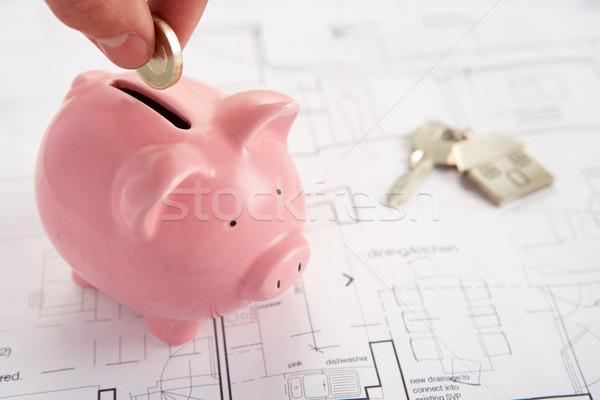 Persely ház tervek kulcsok kéz férfi Stock fotó © monkey_business