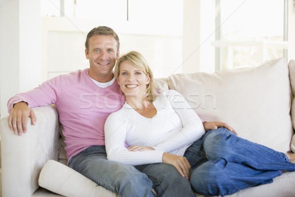 Zdjęcia stock: Para · relaks · salon · uśmiechnięty · kobieta · uśmiech