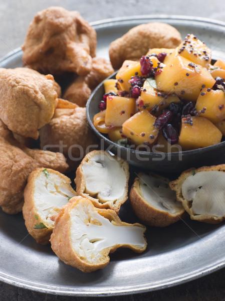 Gomba karfiol mangó mustár edény gránátalma Stock fotó © monkey_business