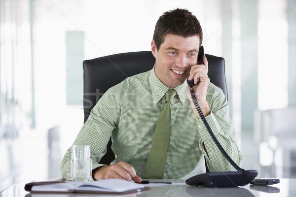 Stock fotó: üzletember · ül · iroda · személyes · szervező · üzlet
