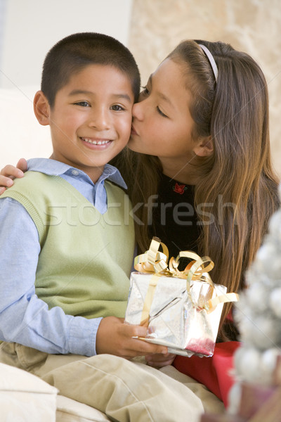 Foto stock: Irmã · irmão · natal · apresentar · beijando · menina