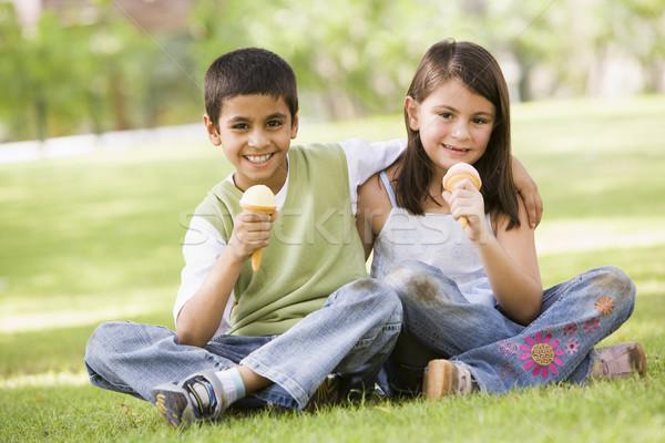Due bambini mangiare gelato parco guardando Foto d'archivio © monkey_business