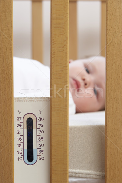 Newborn Baby In Cot With Thermometer Stock photo © monkey_business
