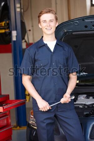 Stock fotó: Raktár · munkás · targonca · boldog · munka · teherautó