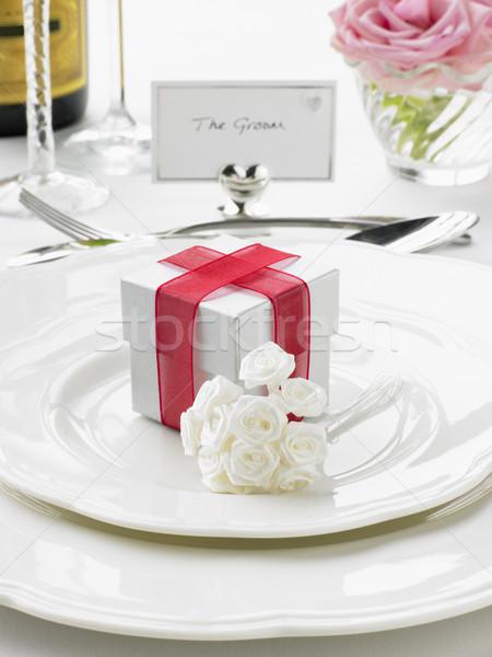 Miejsce oblubienicy pan młody recepcji kwiat Zdjęcia stock © monkey_business