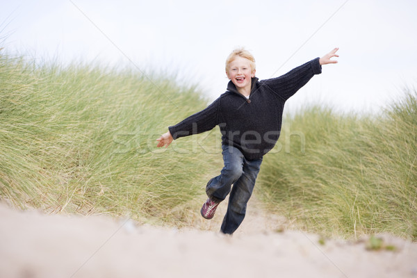 Сток-фото: работает · пляж · улыбаясь · ребенка · зима