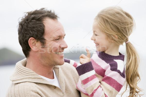 Сток-фото: отец · дочь · пляж · улыбаясь · детей · ребенка