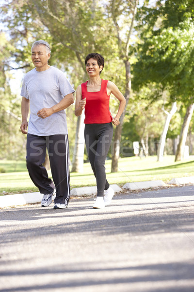 Stockfoto: Jogging · park · man · gelukkig · paar