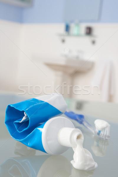 Escova de dentes creme dental azul limpar fresco dental Foto stock © monkey_business