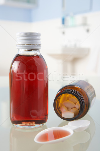 Pills and medicine on bathroom shelf Stock photo © monkey_business