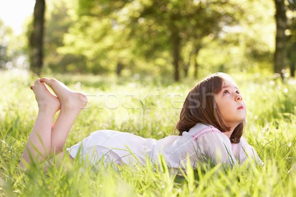 Fiatal lány álmodozás nyár mező lány természet Stock fotó © monkey_business