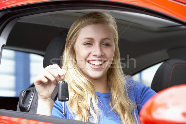 Teenage Girl Sitting In Car, Holding Car Keys And Smiling At The Stock photo © monkey_business