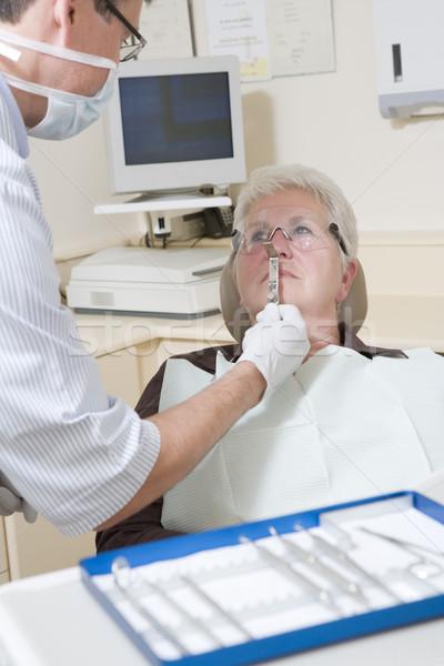 Photo stock: Dentiste · examen · chambre · femme · président · sourire