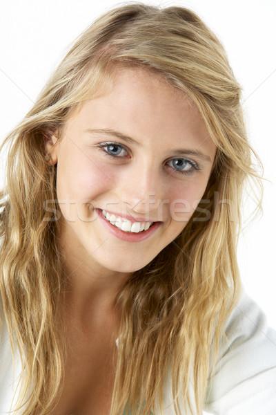 Stockfoto: Portret · glimlachend · tienermeisje · schoonheid · tanden · jonge