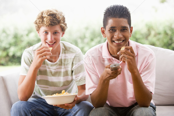 Teenage Boys Sitting On Couch Eating crisps Together Stock photo © monkey_business