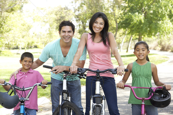 Young Family Riding Bikes In Park Stock photo © monkey_business