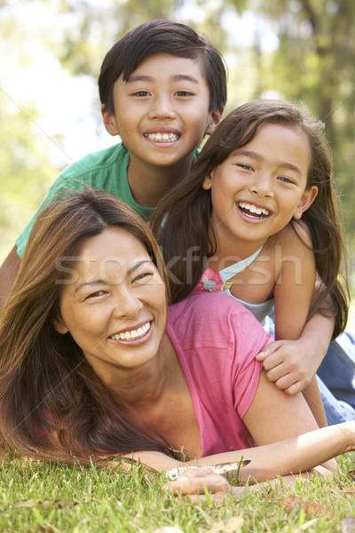 Stok fotoğraf: Anne · çocuklar · gün · park · aile