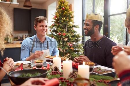 Family having Christmas dinner Stock photo © monkey_business