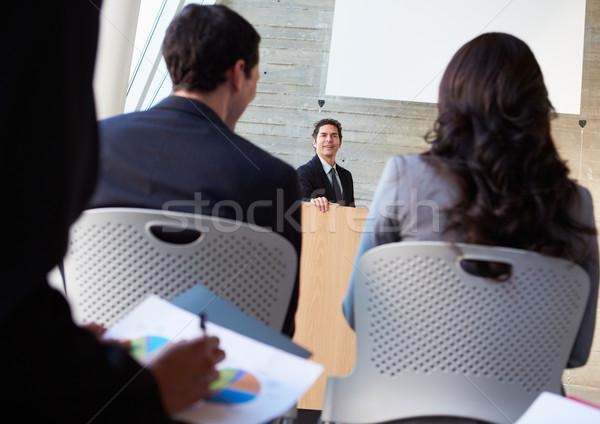Stockfoto: Zakenman · presentatie · conferentie · business · man · mannen