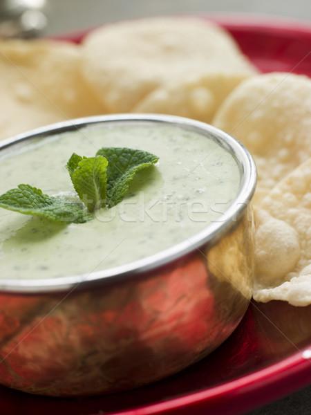 Fresh Green Yoghurt Chutney with mini Papadoms Stock photo © monkey_business