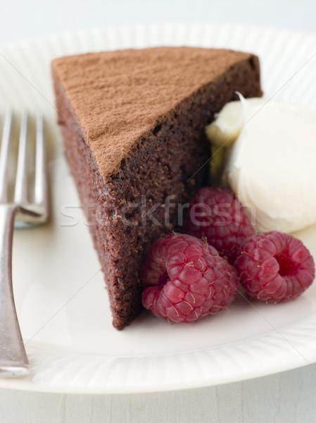 Chocolade spons slagroom frambozen cake vork Stockfoto © monkey_business