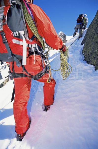 Fiatal férfiak hegymászás csúcs férfi sport csapat Stock fotó © monkey_business