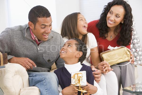 Családi portré karácsony család lány gyerekek férfi Stock fotó © monkey_business