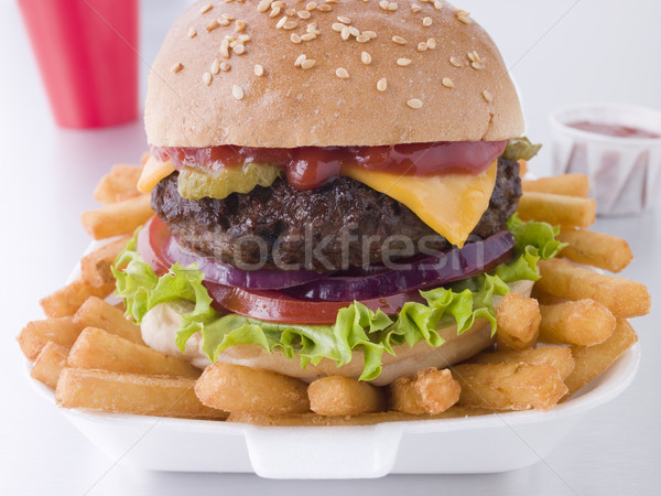 Cheese Burger In A Sesame Seed Bun With Fries Stock photo © monkey_business