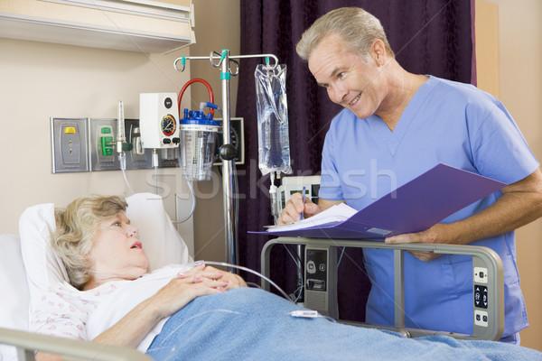 Stock fotó: Orvos · készít · jegyzetek · idős · nő · beteg