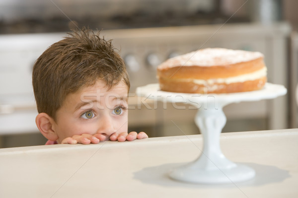 Young boy in kitchen looking at cake on counter Stock photo © monkey_business