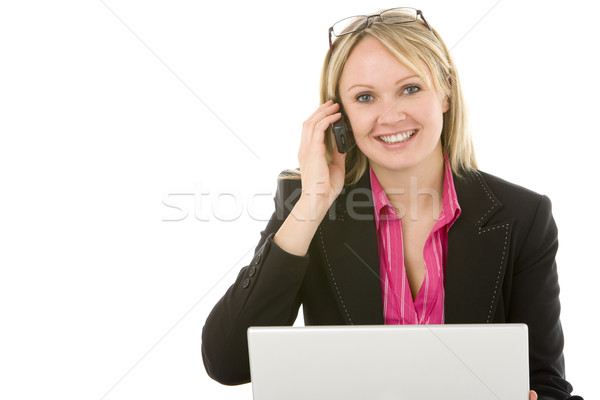 Femme d'affaires séance portable parler téléphone portable femme Photo stock © monkey_business