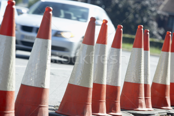 Traffic Cones Lined Up On The Side Of The Road Stock photo © monkey_business