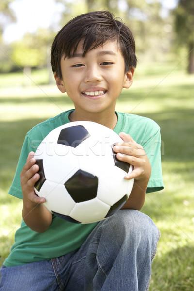 Foto stock: Retrato · parque · futebol · crianças · criança