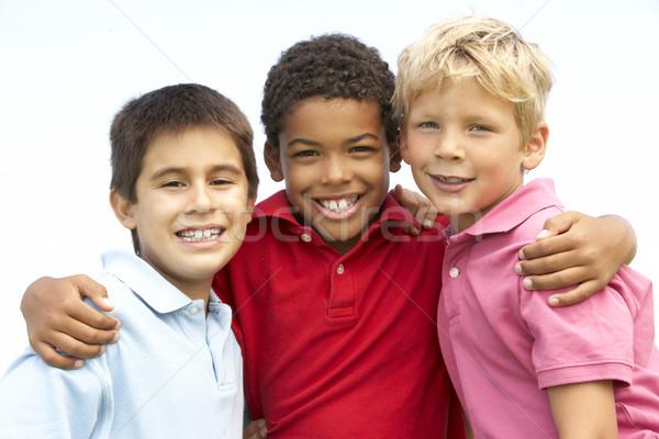 Foto stock: Jovem · meninos · jogar · parque · crianças · feliz