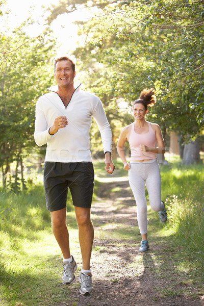 Middle Aged Couple Jogging In Park Stock photo © monkey_business