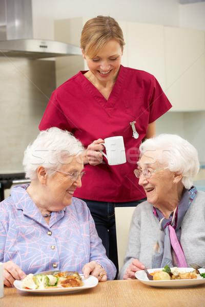 Idős nők gondozó élvezi étel otthon Stock fotó © monkey_business