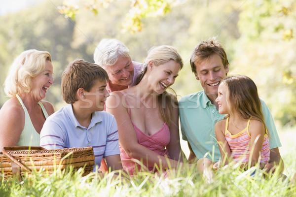 Photo stock: Famille · pique-nique · souriant · homme · couple · groupe