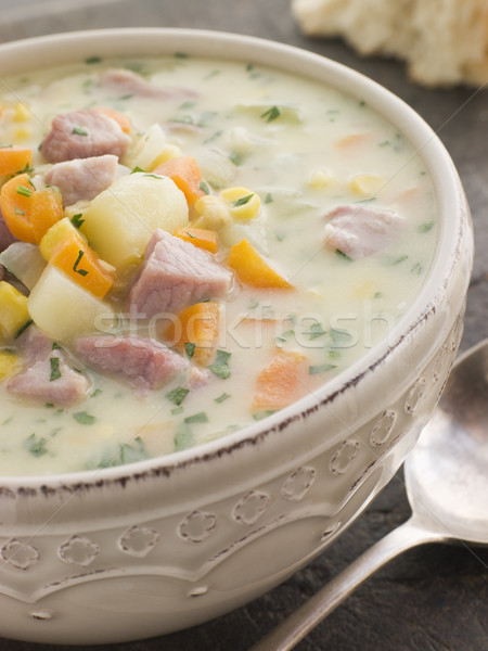 Bowl of Bacon and Corn Chowder with Soda Bread Stock photo © monkey_business