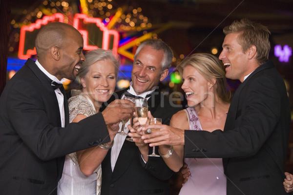 Сток-фото: группа · друзей · выиграть · казино · шампанского