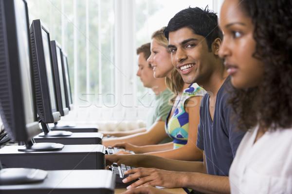 Stock fotó: Főiskola · diákok · számítógépes · labor · diák · oktatás · férfiak