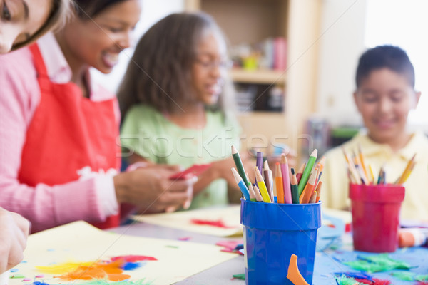 Elementary school art class Stock photo © monkey_business