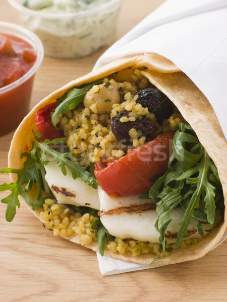 Spiced Cous Cous And Grilled Halloumi Tortilla Wrap Stock photo © monkey_business