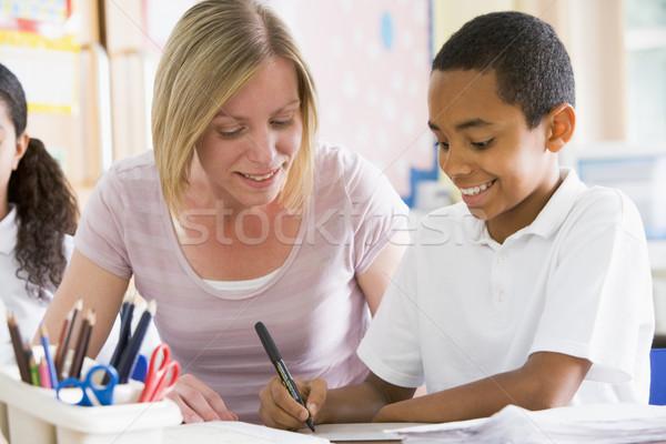Stockfoto: Schooljongen · vergadering · leraar · klasse · vrouw · kind
