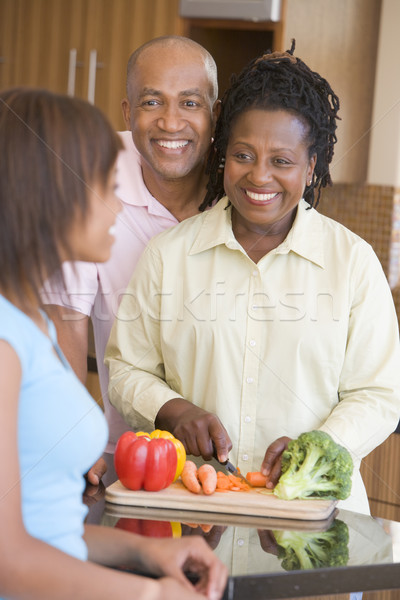 Couple With Daughter Preparing meal,mealtime Stock photo © monkey_business