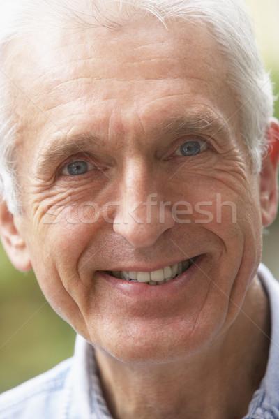 Stock fotó: Portré · idős · férfi · mosolyog · kamera · arc
