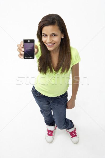 портрет улыбаясь мобильного телефона женщину Сток-фото © monkey_business