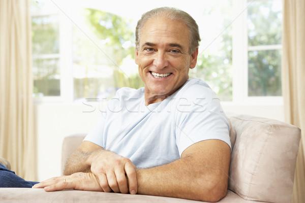 Stockfoto: Senior · man · ontspannen · stoel · home · gelukkig