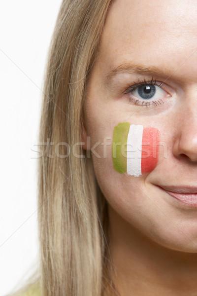 Foto stock: Jóvenes · femenino · deportes · ventilador · bandera · italiana · pintado